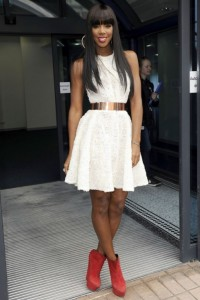 K in white dress 200x300 Celebrity Style   Hire Kellys X Factor Look