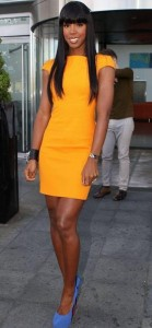 K yellow dress 139x300 Celebrity Style   Hire Kellys X Factor Look